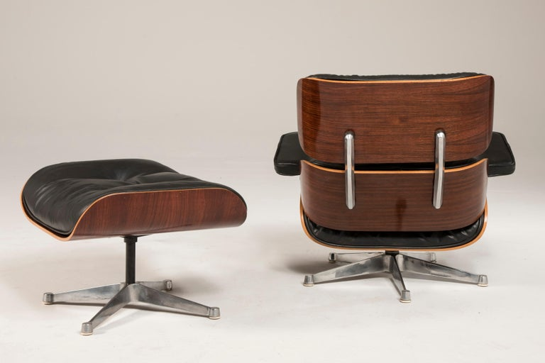 1970s Eames 670 Lounge Chair and 671 Ottoman Black Leather by ICF For Sale 1