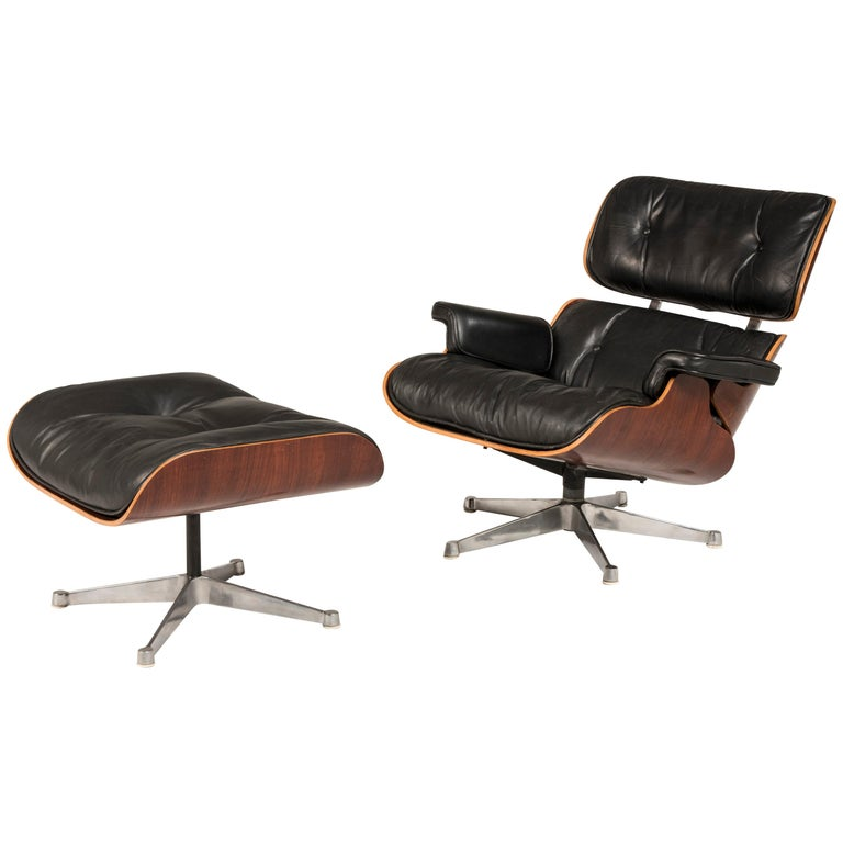 1970s Eames 670 Lounge Chair and 671 Ottoman Black Leather by ICF For Sale
