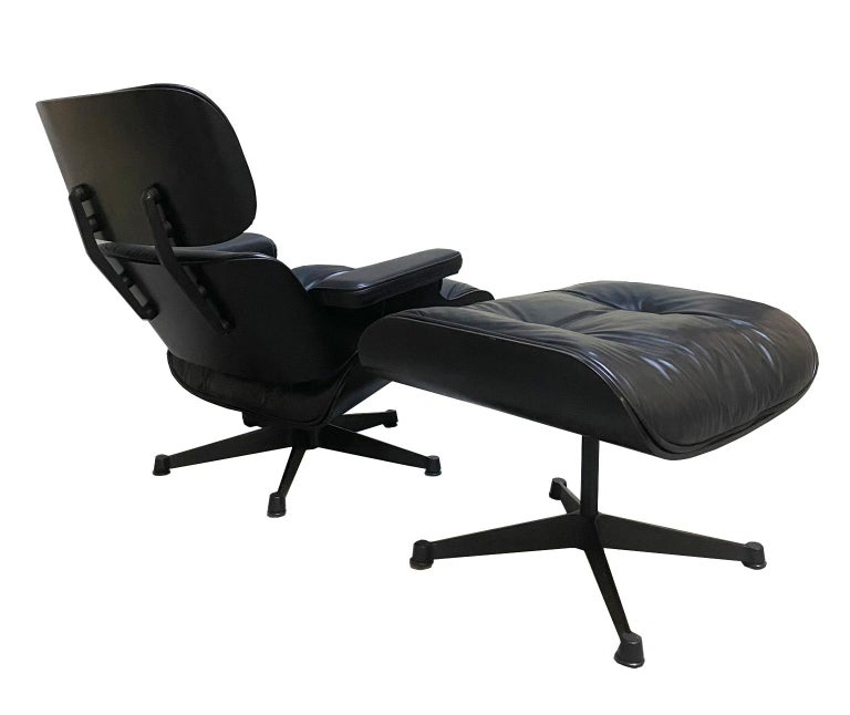 1970s Eames lounge chair and ottoman black leather by ICF / Herman Miller  We have found these pieces which have been produced by ICF, an Italian Milanese company licensed by Herman Miller. These set is a very rare specimen since it is one