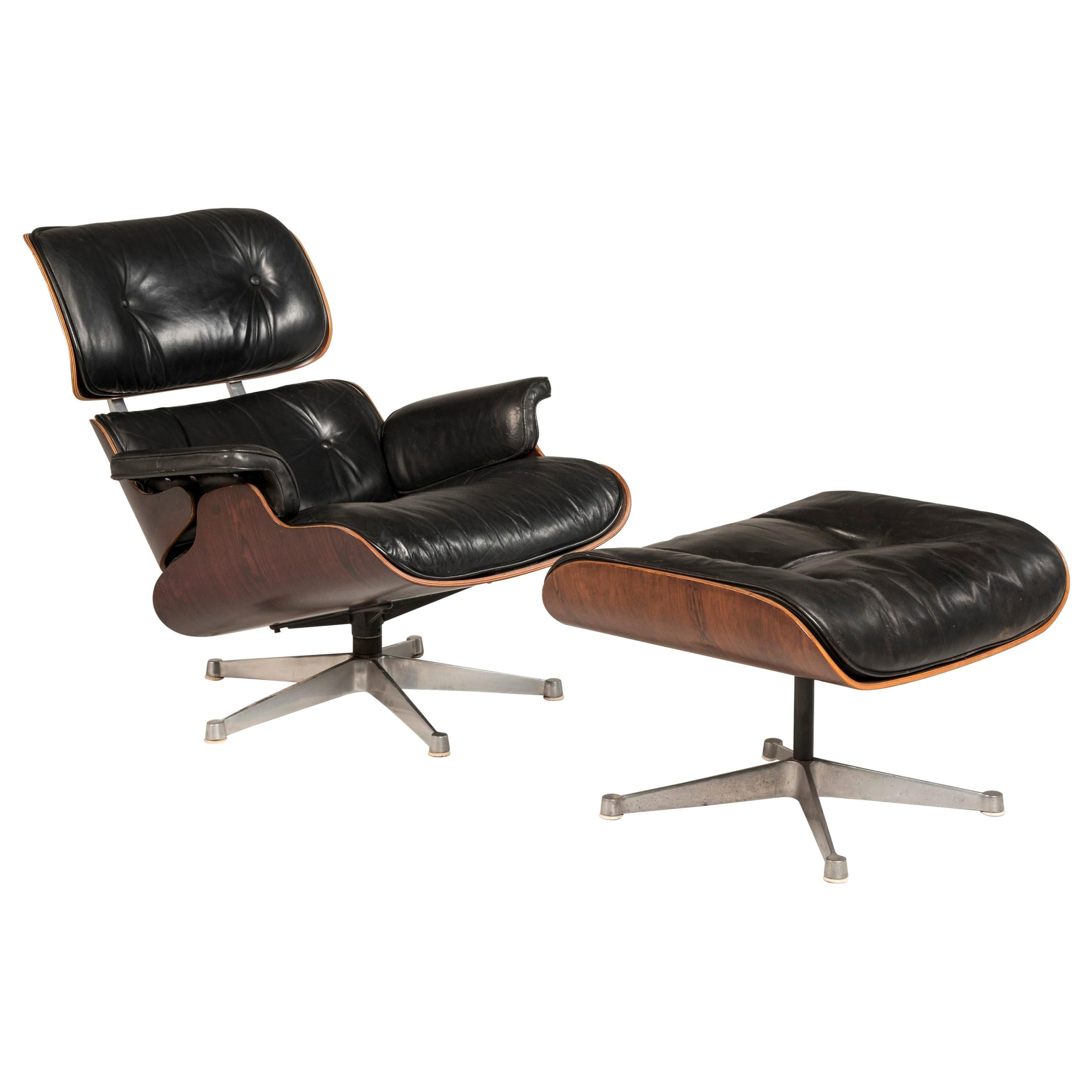 1970s Eames 670 Lounge Chair and 671 Ottoman Black Leather Herman Miller by ICF