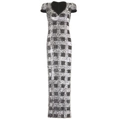 1970s Early 1980s Vintage Andre Laug Monochrome Sequin Dress