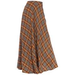 1970S Earth Tones Pleated Wool Blend Full Maxi Skirt
