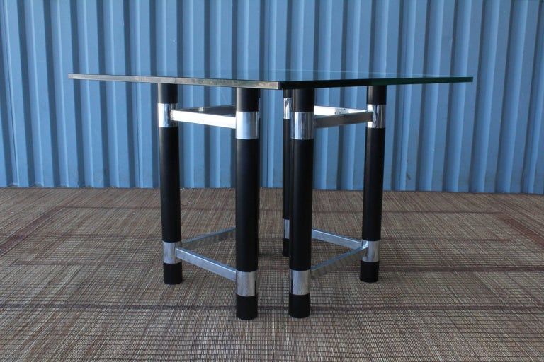Pair of 1970s wood and chrome table bases. Recently refinished in a satin black.