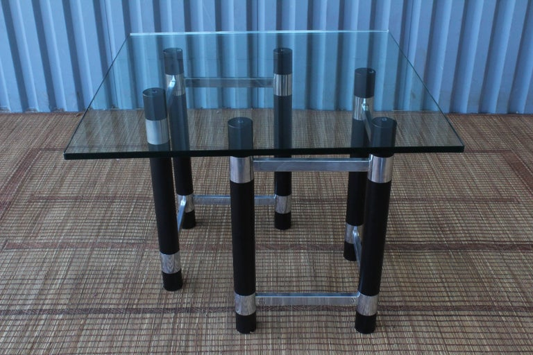 1970s Ebonized Wood and Chrome Table Base For Sale 1
