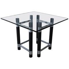 1970s Ebonized Wood and Chrome Table Base