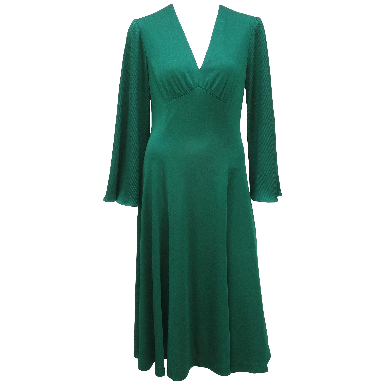 1970's Edith Flagg Emerald Green Disco Dress