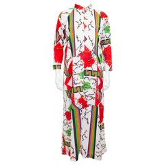1970s Eduardo for Saks Fifth Ave Geometric Printed Hostess Robe