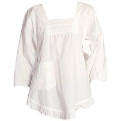 1970S Edwardian Style Lace + Cotton Wrap Top