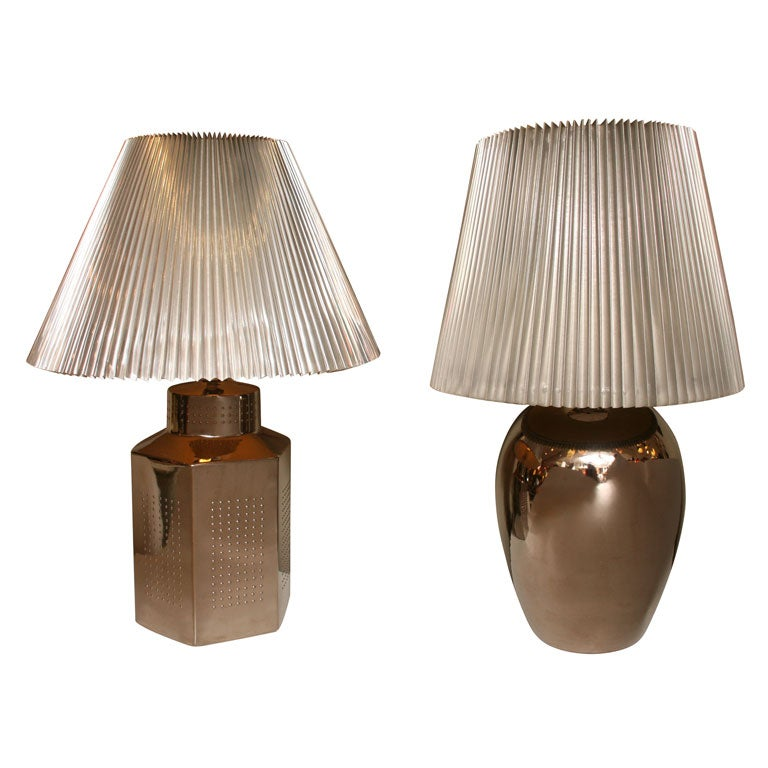 Mid-Century Modern 1970s Elegant and Modern Pair of Mirror Glaze Table Lamps Tyndale For Sale