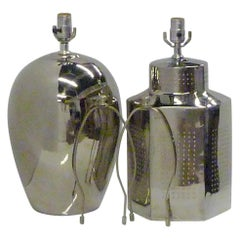 1970s Elegant and Modern Pair of Mirror Glaze Table Lamps Tyndale