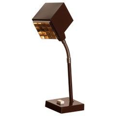 "1970s, Elidus Dark Brown, Metal, Desk Lamp ""The Cube"" by Hans-Anne Jakobsson"