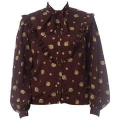 1970S EMANUEL UNGARO Burgundy Printed Silk Jaquard Ruffle Yoke Bow Neck Blouse