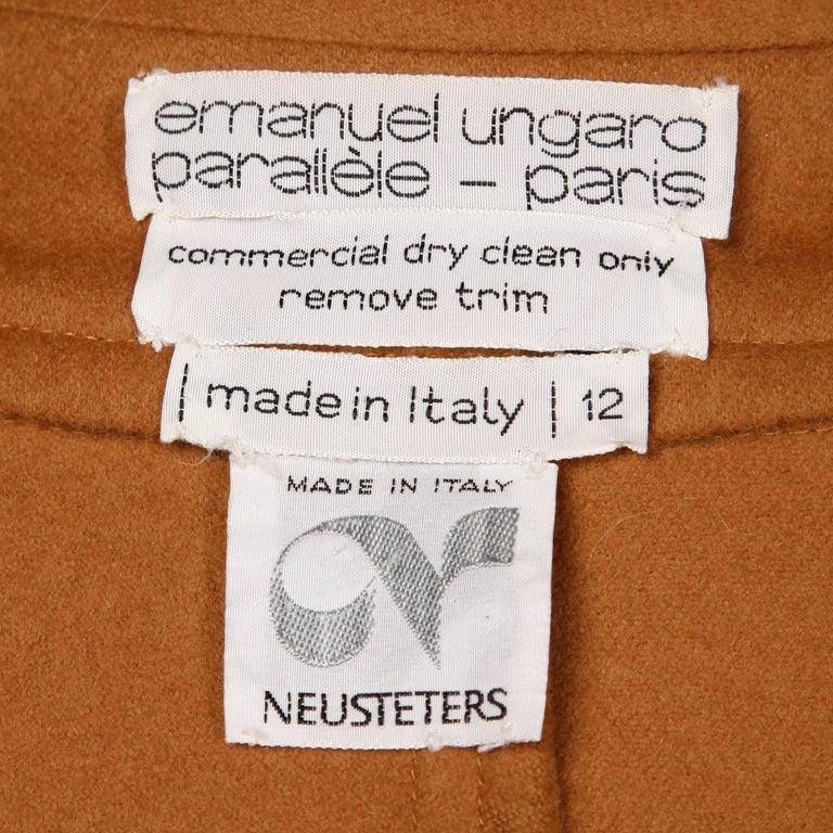 Brown 1970s Emanuel Ungaro Parallele Paris Vintage Camel Wool Cape Coat/ Jacket For Sale