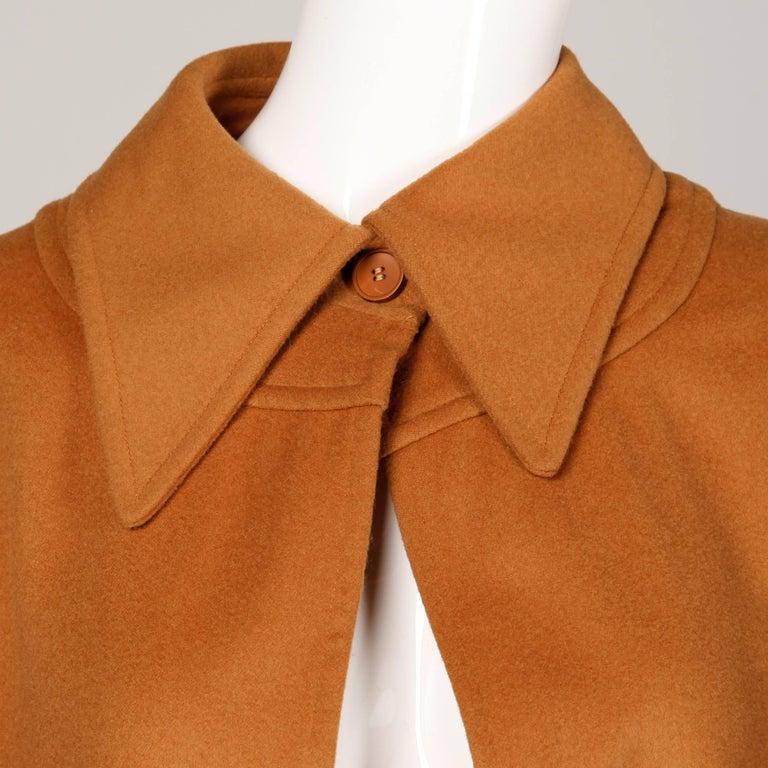 Women's 1970s Emanuel Ungaro Parallele Paris Vintage Camel Wool Cape Coat/ Jacket For Sale