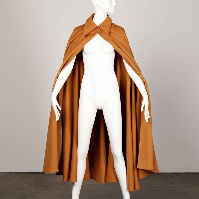 1970s Emanuel Ungaro Parallele Paris Vintage Camel Wool Cape Coat/ Jacket For Sale 1