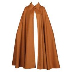 1970s Emanuel Ungaro Parallele Paris Vintage Camel Wool Cape Coat/ Jacket