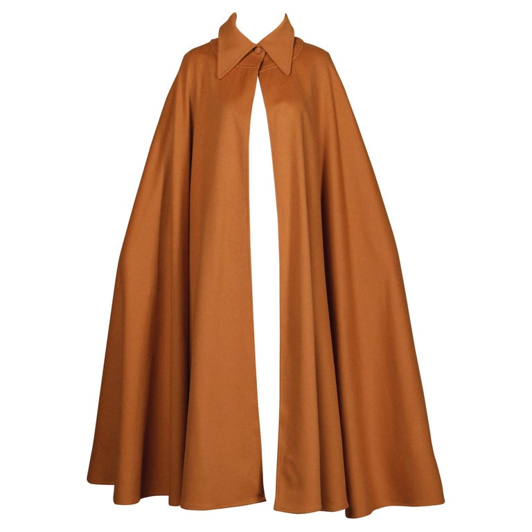 1970s Emanuel Ungaro Parallele Paris Vintage Camel Wool Cape Coat/ Jacket For Sale