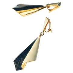 1970s Emanuel Ungaro Paris Drop Earrings Enamel and Gold Plate Two Tone