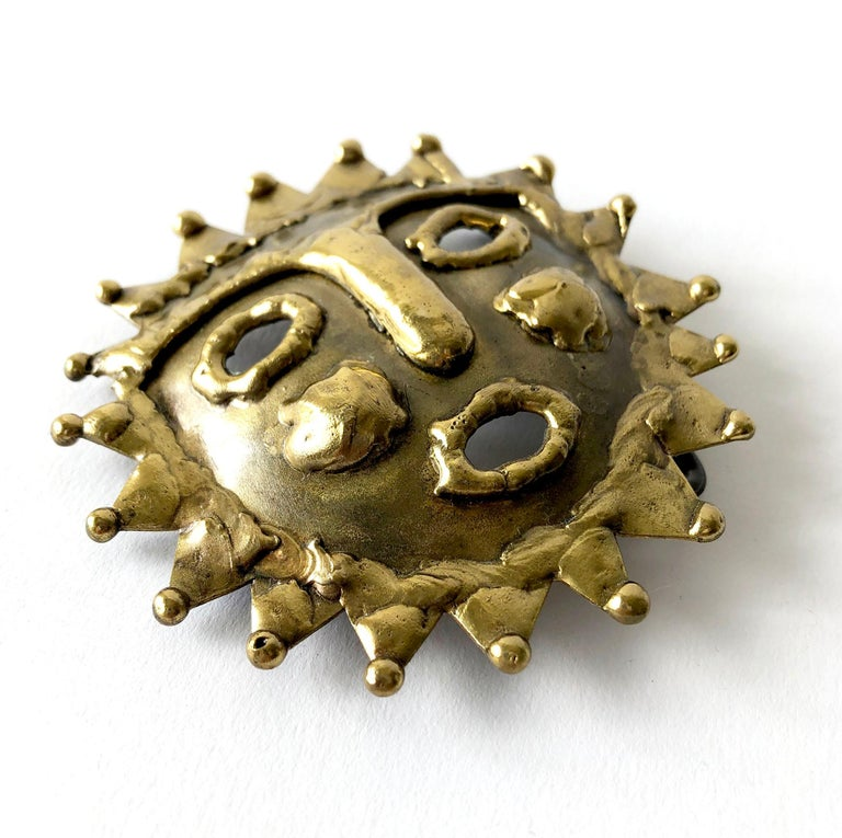 1970s Emaus Bronze Mexican Modern Brutalist Sun Belt Buckle In Good Condition For Sale In Los Angeles, CA