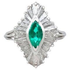 1970s Emerald and Diamond Platinum Marquise Ring
