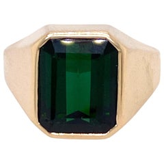 1970s Emerald Cut Green Tourmaline Ring
