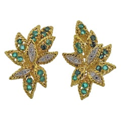 1970s Emerald Diamond Gold Earrings