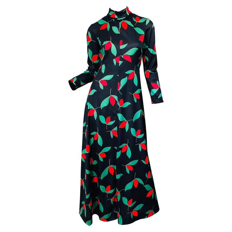 1970s Emilio Borghese Tulip Print Black + Green + Red Vintage 70s Maxi Dress For Sale
