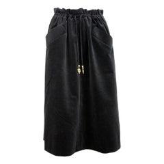 1970s Emilio Pucci Black Cotton Velvet Trapeze Maxi Skirt
