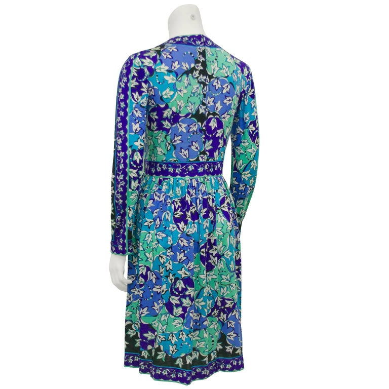 1970s Emilio Pucci Blue Tones Silk & Cashmere Knit Dress  In Excellent Condition For Sale In Toronto, Ontario