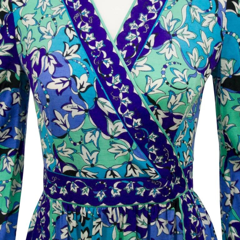 Women's 1970s Emilio Pucci Blue Tones Silk & Cashmere Knit Dress  For Sale