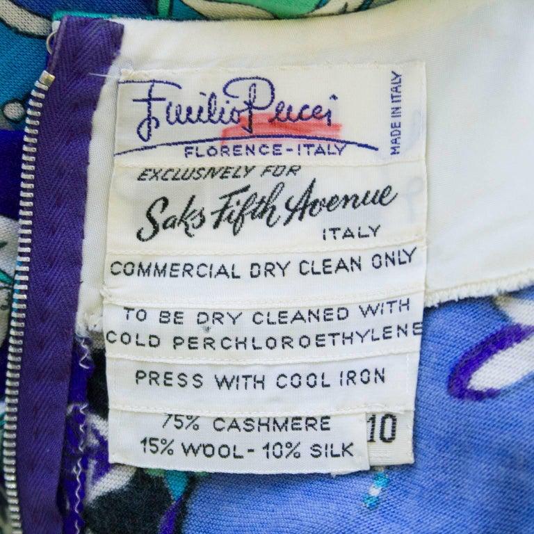 1970s Emilio Pucci Blue Tones Silk & Cashmere Knit Dress  For Sale 1