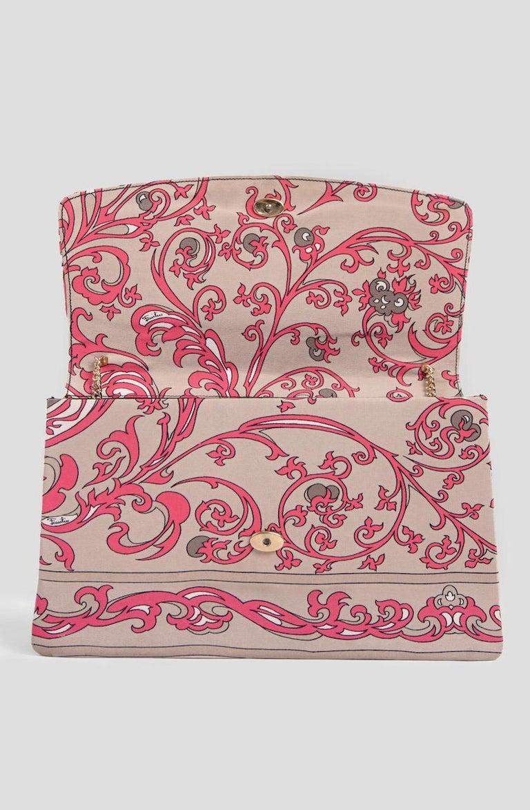 1970s EMILIO PUCCI Floral Print Pink & Taupe Clutch or Shoulder Bag & Belt Set For Sale 5