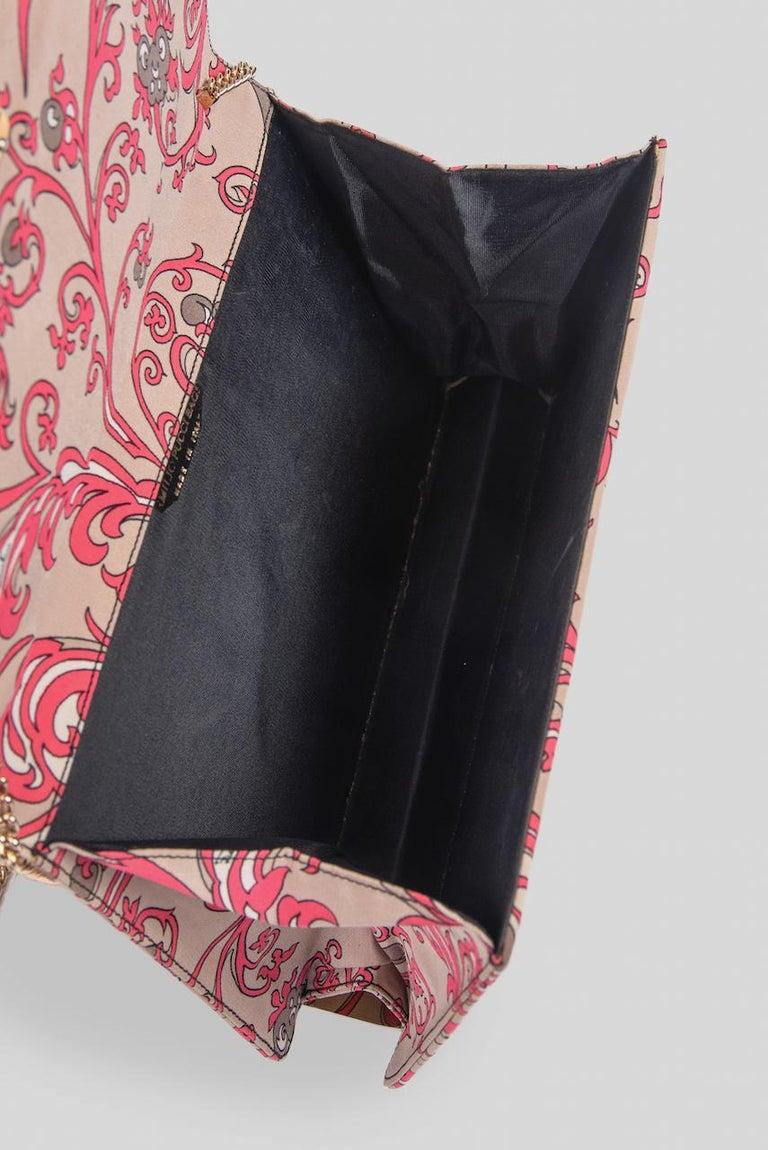 1970s EMILIO PUCCI Floral Print Pink & Taupe Clutch or Shoulder Bag & Belt Set For Sale 6