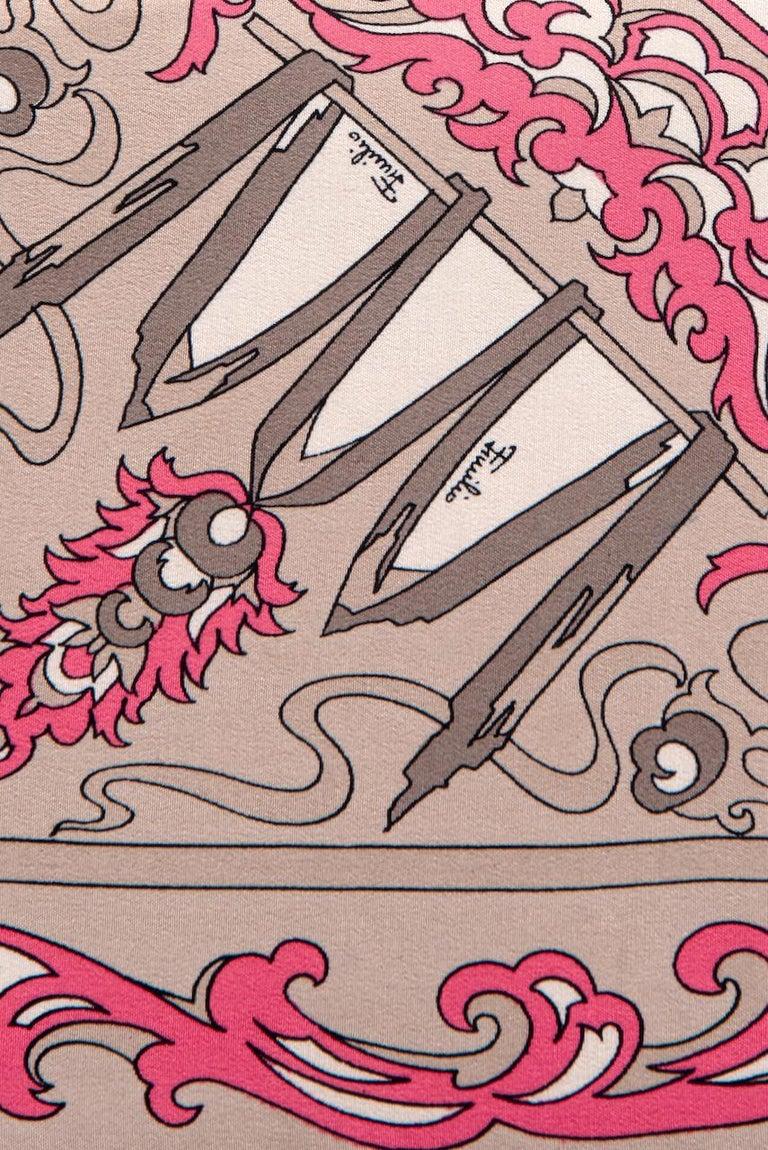 1970s EMILIO PUCCI Floral Print Pink & Taupe Clutch or Shoulder Bag & Belt Set For Sale 7