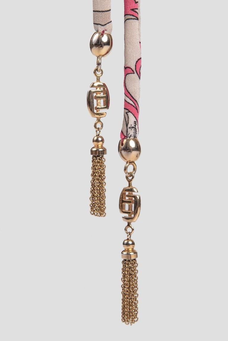 1970s EMILIO PUCCI Floral Print Pink & Taupe Clutch or Shoulder Bag & Belt Set For Sale 8