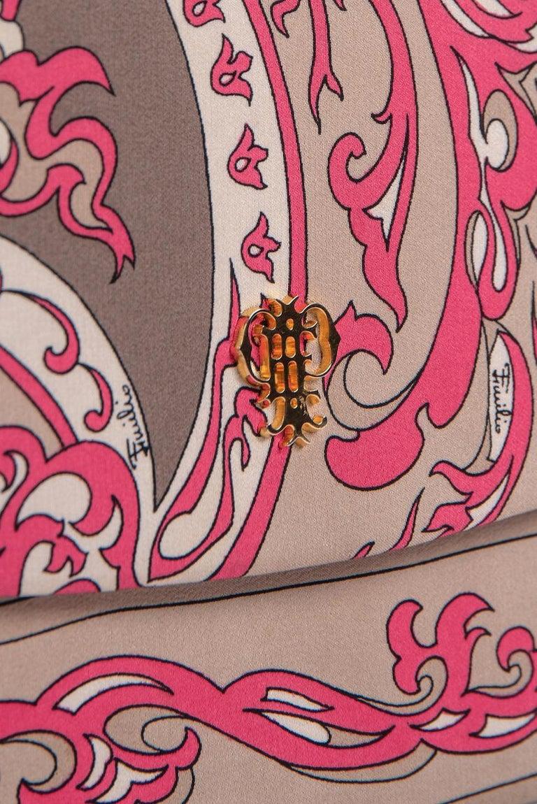 1970s EMILIO PUCCI Floral Print Pink & Taupe Clutch or Shoulder Bag & Belt Set For Sale 9
