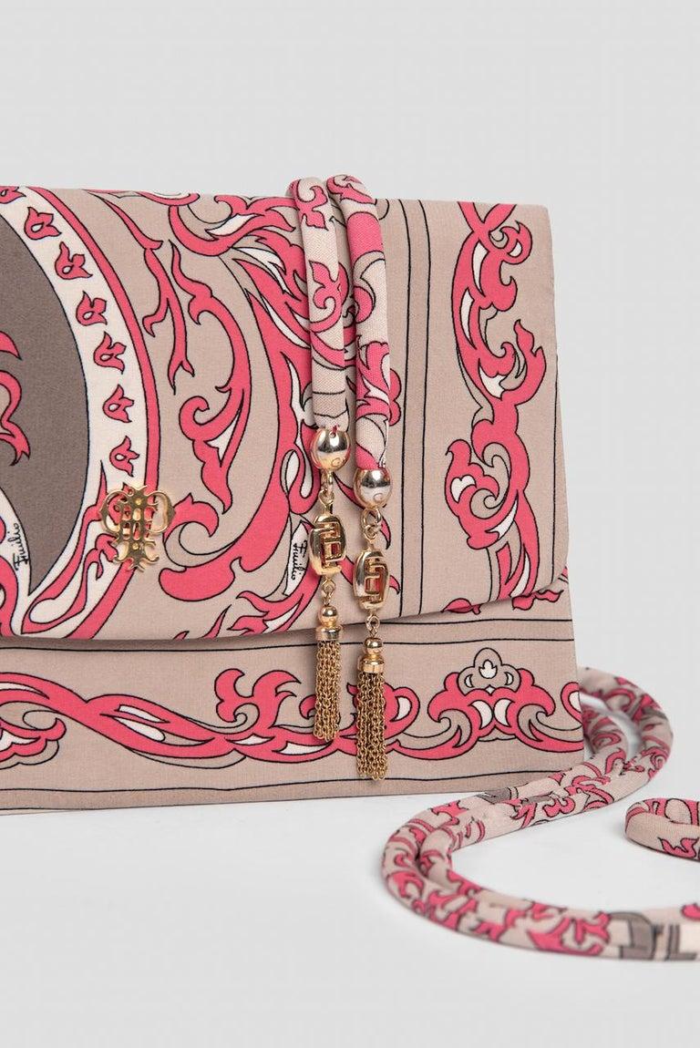 1970s EMILIO PUCCI Floral Print Pink & Taupe Clutch or Shoulder Bag & Belt Set For Sale 11