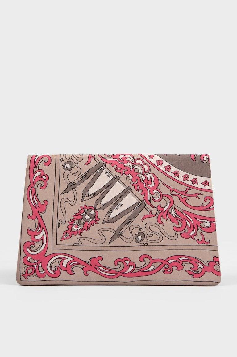 Brown 1970s EMILIO PUCCI Floral Print Pink & Taupe Clutch or Shoulder Bag & Belt Set For Sale