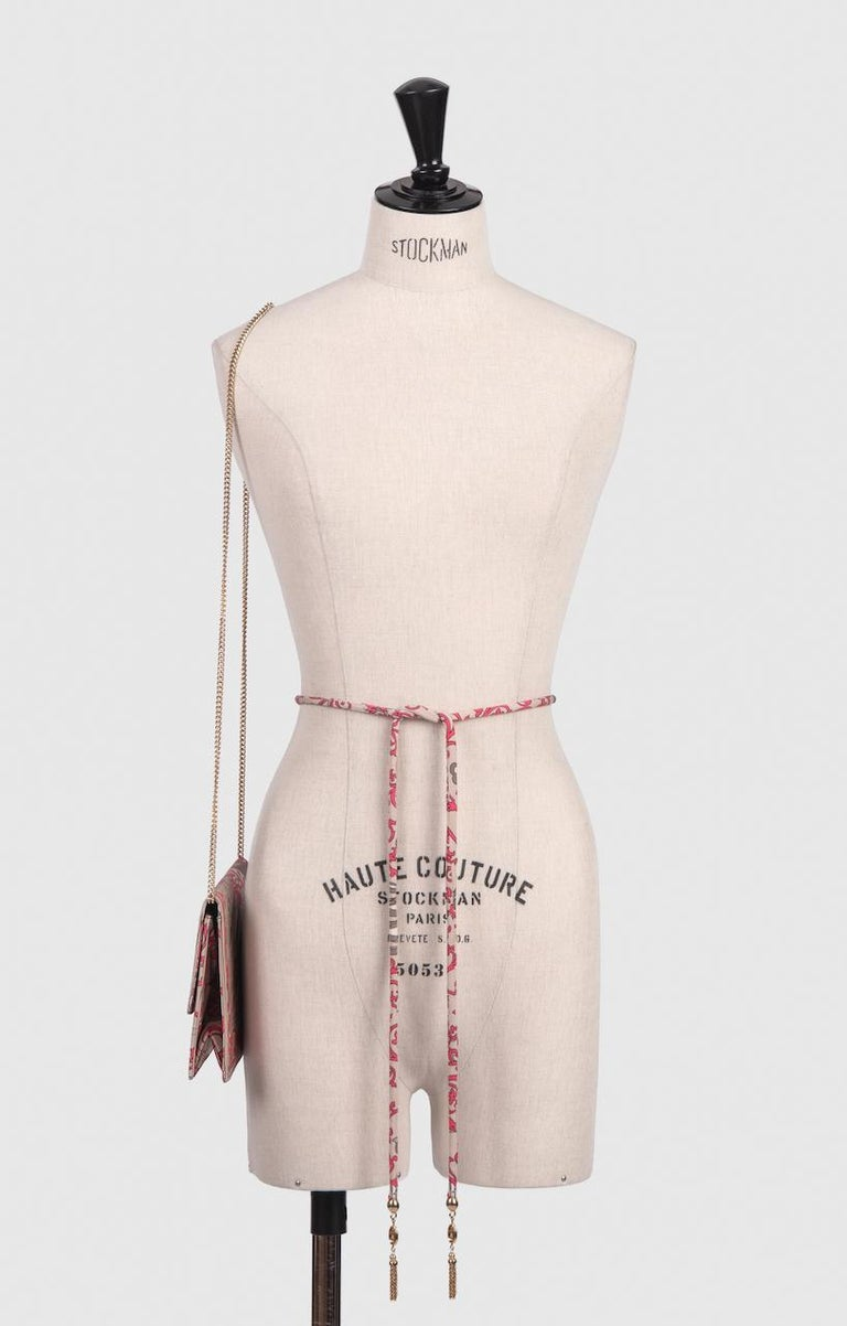 1970s EMILIO PUCCI Floral Print Pink & Taupe Clutch or Shoulder Bag & Belt Set In Excellent Condition For Sale In Munich, DE