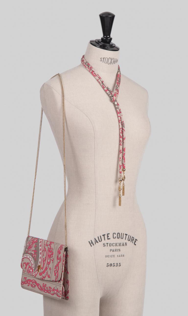 Women's 1970s EMILIO PUCCI Floral Print Pink & Taupe Clutch or Shoulder Bag & Belt Set For Sale