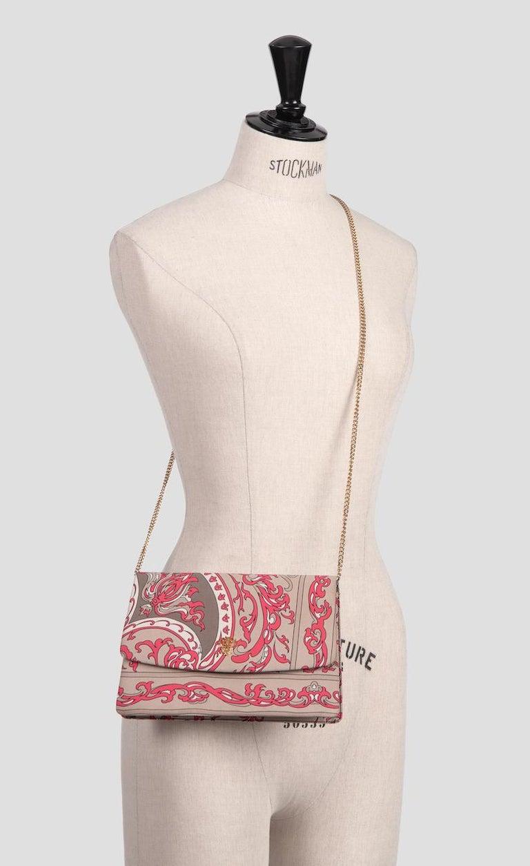1970s EMILIO PUCCI Floral Print Pink & Taupe Clutch or Shoulder Bag & Belt Set For Sale 1