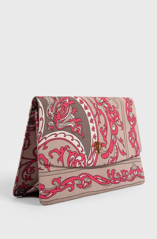1970s EMILIO PUCCI Floral Print Pink & Taupe Clutch or Shoulder Bag & Belt Set For Sale 2