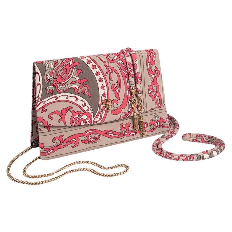 1970s EMILIO PUCCI Floral Print Pink & Taupe Clutch or Shoulder Bag & Belt Set For Sale