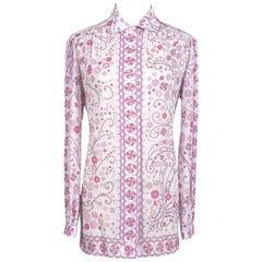 1970s EMILIO PUCCI Signature Floral Print White Pink Cotton Shirt Top or Tunic