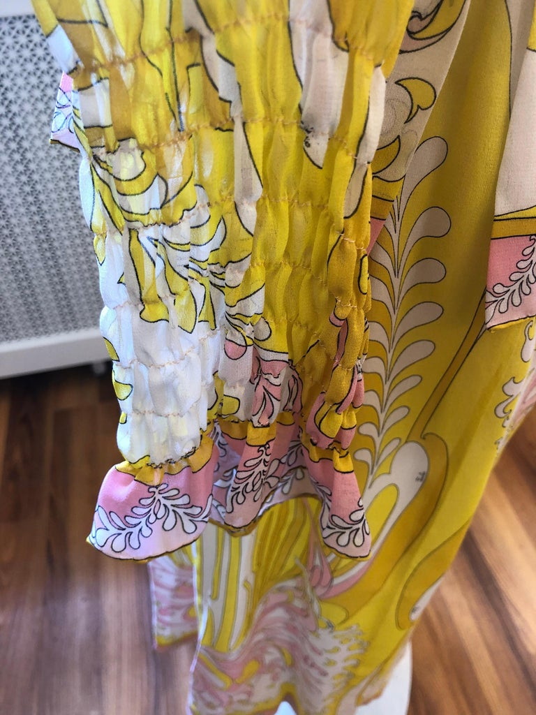 1970s Emilio Pucci Silk Chiffon Skirt, Top and Cummerbund In Excellent Condition For Sale In Port Hope, ON