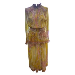 1970s Emilio Pucci Silk Chiffon Skirt, Top and Cummerbund