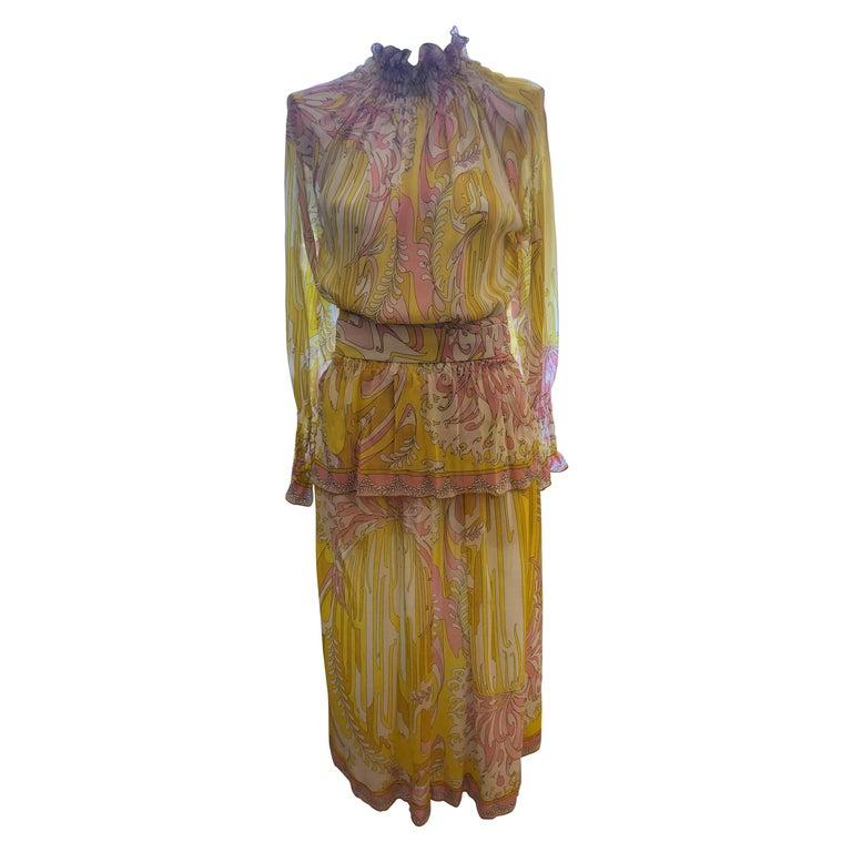 1970s Emilio Pucci Silk Chiffon Skirt, Top and Cummerbund For Sale