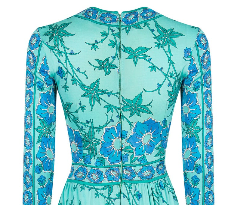 Women's 1970s Emilio Pucci Turquoise Printed Silk Jersey Dress With Cross Over Bodice For Sale