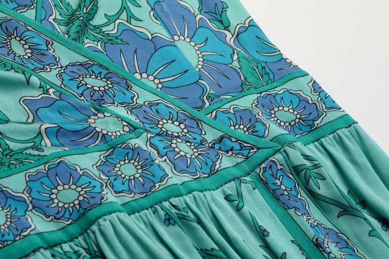 1970s Emilio Pucci Turquoise Printed Silk Jersey Dress With Cross Over Bodice For Sale 1