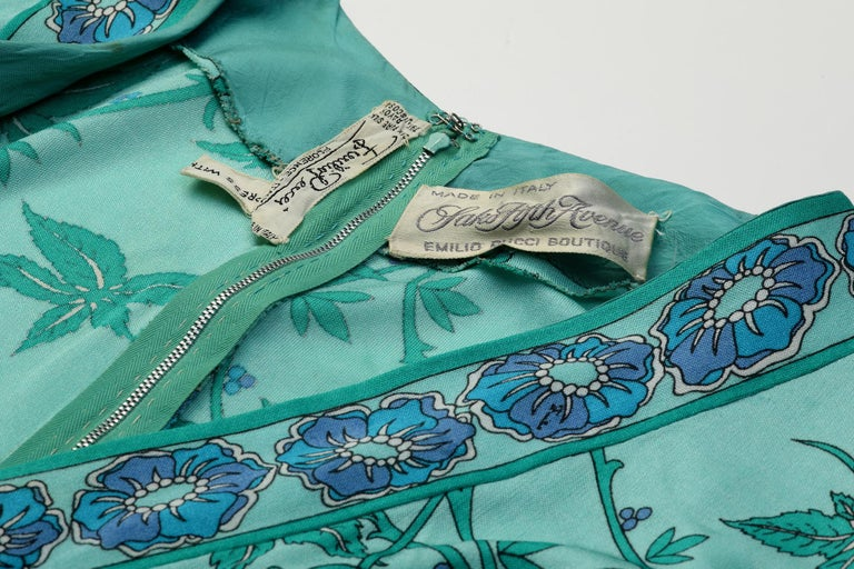 1970s Emilio Pucci Turquoise Printed Silk Jersey Dress With Cross Over Bodice For Sale 2